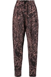 Mcq By Alexander Mcqueen Printed Silk Wide Leg Pants Pink
