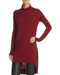 Splendid High Low Turtleneck Sweater Cranberry