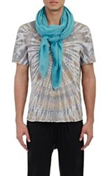 Barneys New York Men's Crinkled Gauze Scarf Blue