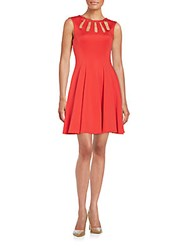 Betsey Johnson Cutout Neckline Fit And Flare Dress Red
