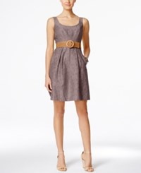 Nine West Belted Burnout Fit And Flare Dress Taupe
