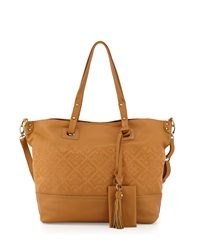 Isabella Fiore Bombay Embroidered Tote Bag Cognac