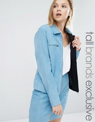 Adpt Tall Suede Zip Front Collar Jacket Co Ord Powder Blue