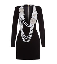 Balmain Pearl Necklace Embellished Velvet Dress Female Black