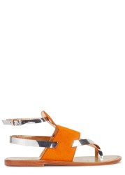 Sanchita Bright Orange Calf Hair Sandals Silver