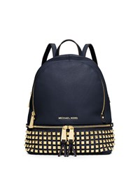 Michael Michael Kors Rhea Small Studded Leather Backpack Navy