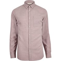 River Island Mens Pink Flannel Long Sleeve Shirt