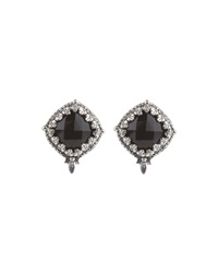 Konstantino Carved Silver And Onyx Button Earrings Black