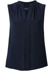 Derek Lam Pleated Placket Sleeveless Blouse Blue