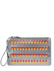 Moschino Pill Pack Metallic Faux Leather Clutch