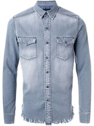 Hl Heddie Lovu Fringed Hem Denim Shirt Grey