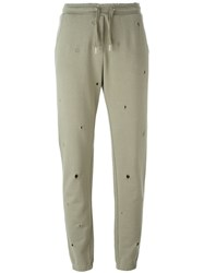 Zoe Karssen Perforated Track Pants Green