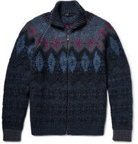 Etro Fair Isle Wool Blend Cardigan Blue