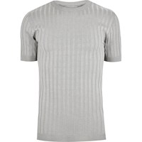 River Island Mens Grey Chunky Ribbed Muscle Fit T Shirt