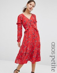 Asos Petite V Neck Ruffle Midi Dress In Vintage Floral Multi