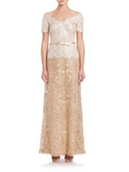 Tadashi Shoji Off The Shoulder A Line Belted Lace Gown Ivory Gold