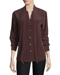 Kate Moss For Equipment Slim Signature Heart Print Tie Neck Shirt Cherry Red
