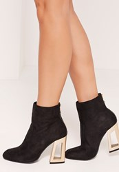 Missguided Cut Out Metal Heeled Microfibre Boots Black