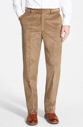 Men's Big And Tall Berle Flat Front Corduroy Trousers Tan