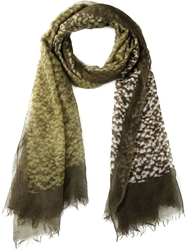 Closed Lightweight Printed Scarf Green