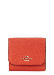 Coach Red Crossgrain Leather Wallet Orange