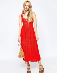 Asos Crochet Sundress In Midi Length Red
