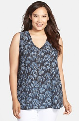 Sejour Print V Neck Shell Plus Size Black Blue Vine Print
