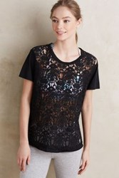 Anthropologie Lace Crewneck Tee Black
