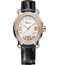 Chopard Happy Sport Oval 18Ct Rose Gold Stainless Steel Diamond And Alligator Leather Watch