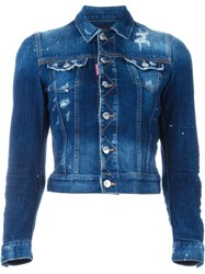 Dsquared2 Fitted Denim Jacket Blue