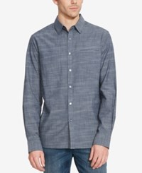 Kenneth Cole Reaction Men's Space Dye Chambray Long Sleeve Shirt Indigo Combo