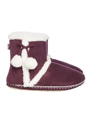 Totes Sherpa Bootie With Pom Poms Plum