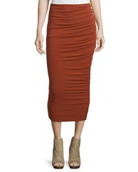 Alice Olivia Mindie Ruched Jersey Midi Skirt Dark Orange