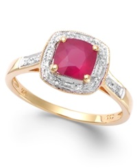 Macy's Ruby 1 1 4 Ct. T.W. And Diamond Accent Ring In 14K Gold Yellow Gold