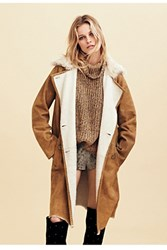 Free People Womens Sherpa Suede Trench