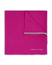 Turnbull And Asser Basic Solid Pocket Square With Border Fuscia