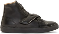 Carven Black Leather High Top Strap Sneakers