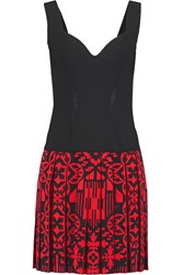 Alexander Mcqueen Pleated Stretch Jersey And Jacquard Knit Dress Black