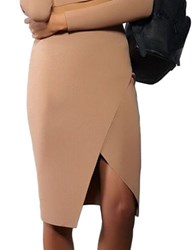 Kendall Kylie Compact Overlap Pencil Skirt Yellow