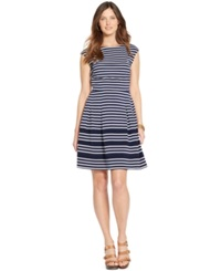 American Living Striped Cap Sleeve Dress Navy