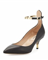 Valentino Leather Pump With Metal Ankle Strap 0No