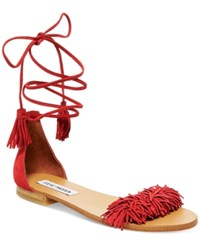Steve Madden Women's Sweetyy Lace Up Flat Sandals Women's Shoes Red Suede