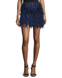 Haute Hippie Metallic Feathered Mini Skirt Midnight Black
