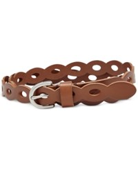 Fossil Scalloped Leather Skinny Belt Brown