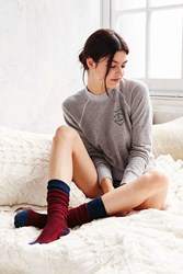 Urban Outfitters Chevron Stitch Colorblock Thigh High Sock Berry