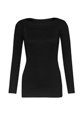 Great Plains Modern Rib Boat Neck Top Black
