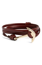 Men's Miansai Gold Anchor Leather Bracelet Brandy