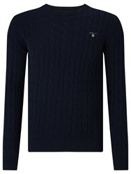 Gant Cotton Cable Crew Neck Jumper Evening Blue