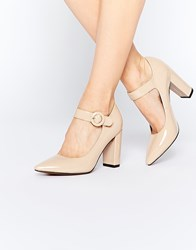 Truffle Collection Mona Mary Jane Block Heeled Shoes Nude Pat Beige
