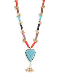 Panacea Stone And Thread Pendant Necklace Multi Colored